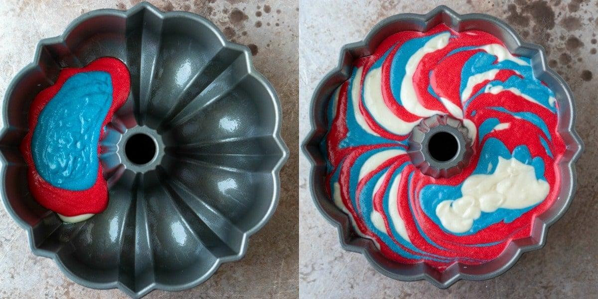 Flag marble cake batter in a bundt pan