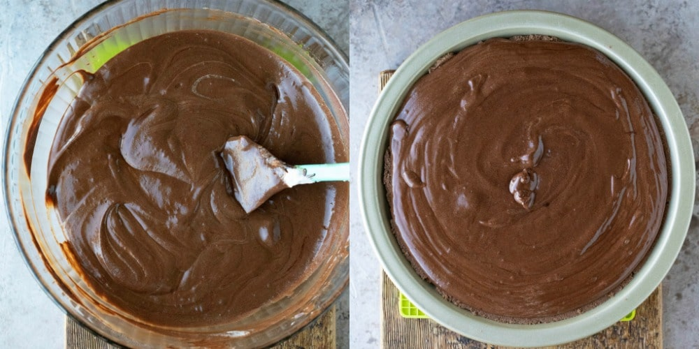 Chocolate mousse pie filling in a glass bowl
