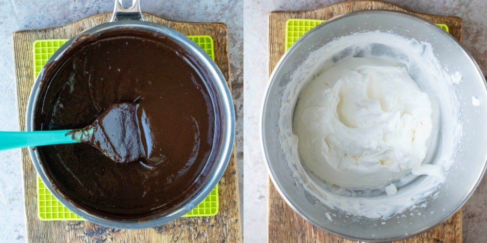 Melted chocolate in a silver saucepan