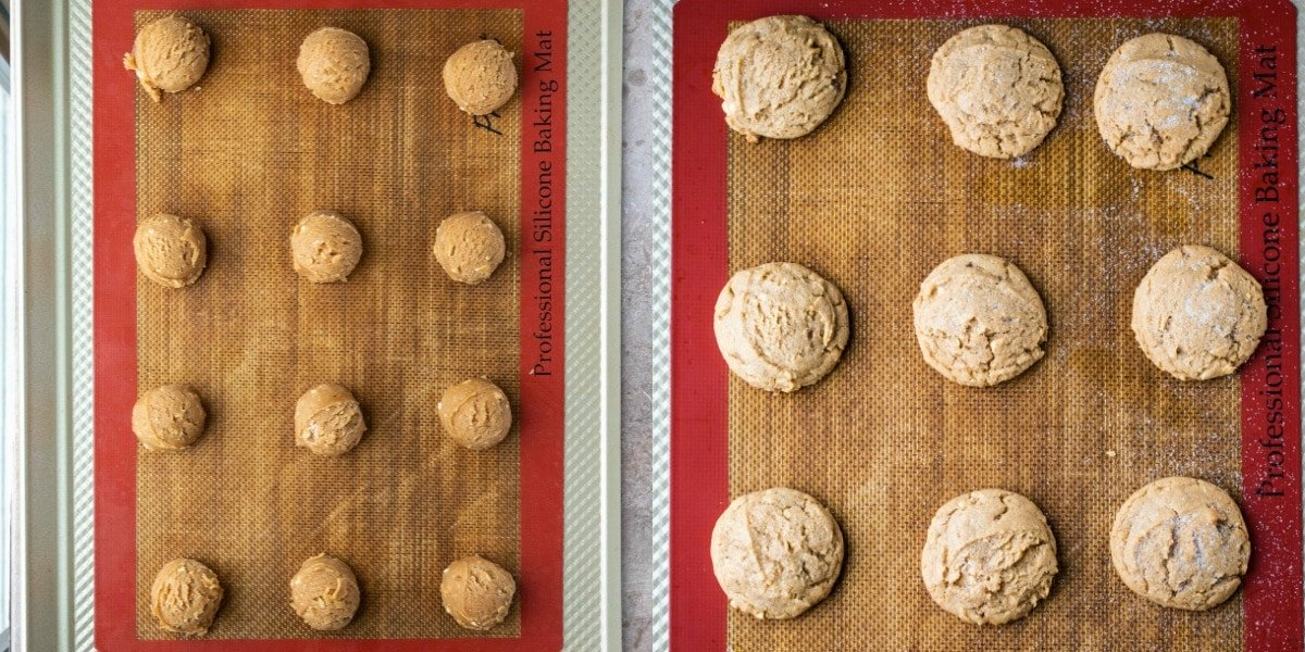Peanut butter cookie dough scoops on a cookie sheet