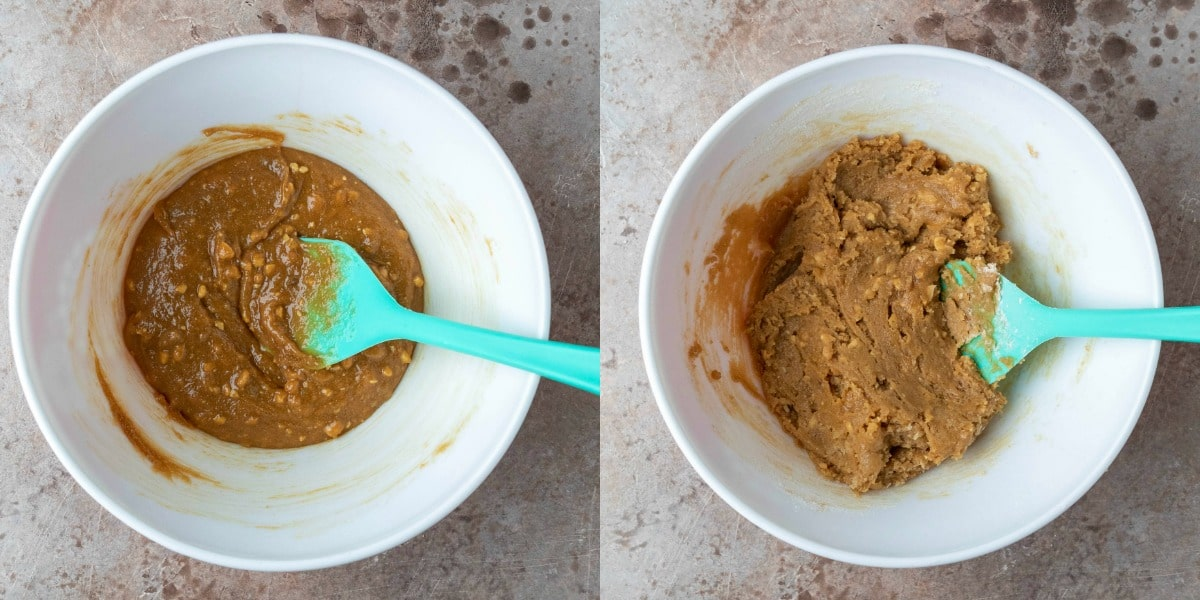 Peanut butter cookie dough in a white mixing bowl