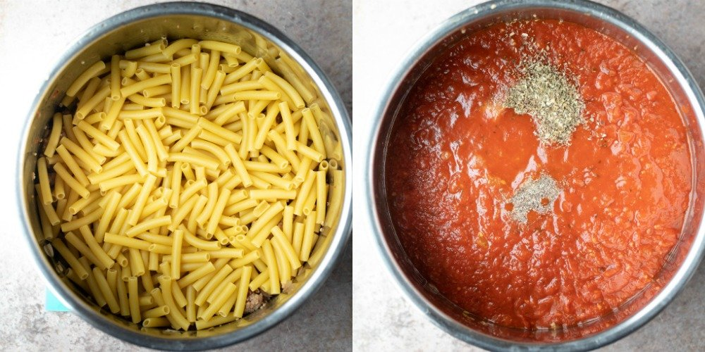 Uncooked ziti in an instant pot