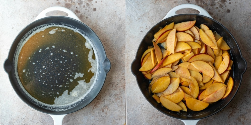 Brown butter in a white skillet