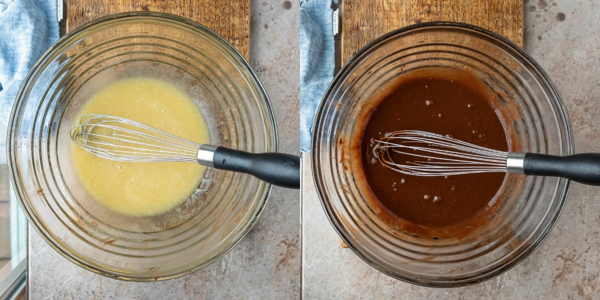 Melted chocolate sugar and oil in a glass mixing bowl