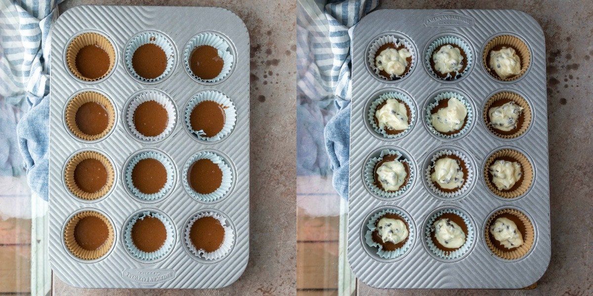 Chocolate cheesecake cupcake batter in a silver muffin tin