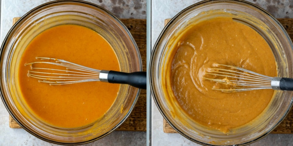 Pumpkin batter in a glass mixing bowl