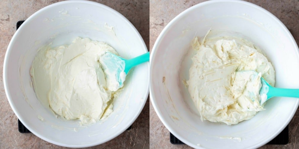 Cream cheese and sour cream in a white mixing bowl