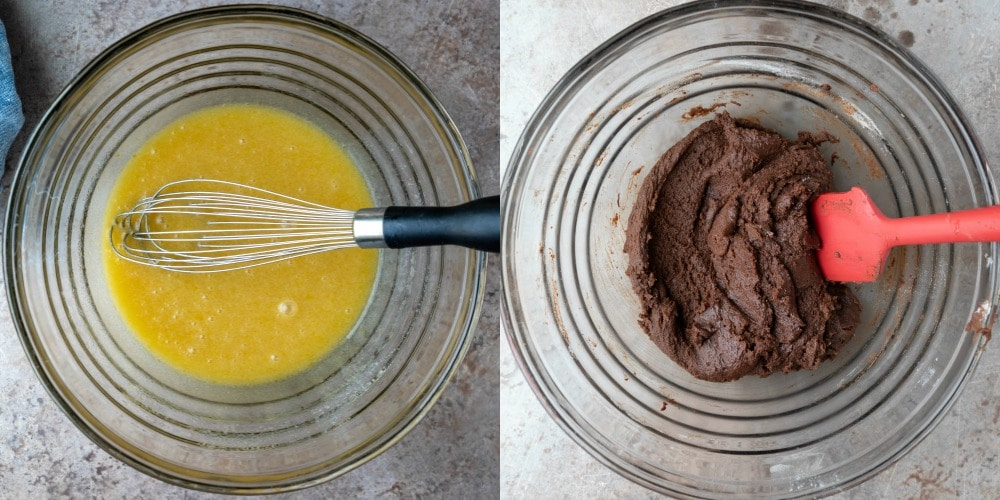 Chocolate cookie dough in a glass mixing bowl