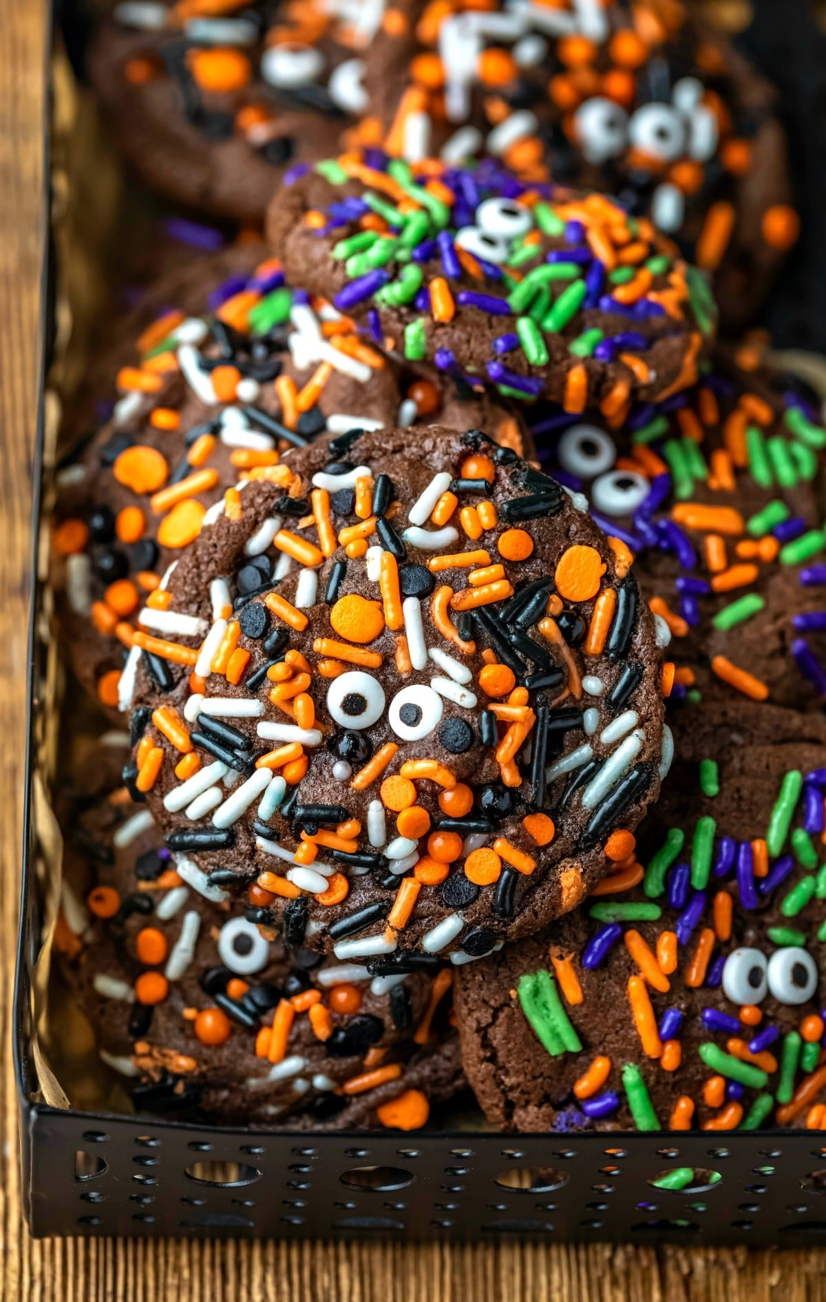Stack of Halloween monster cookies