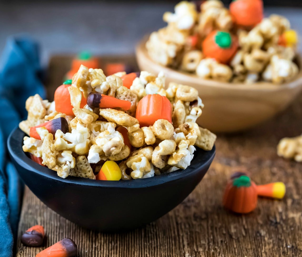 Two bowls of halloween snack mix
