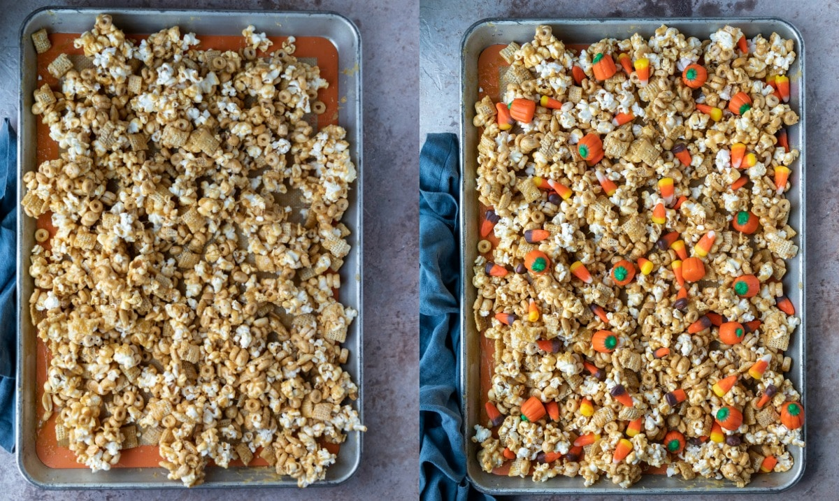 Halloween snack mix in a half sheet pan