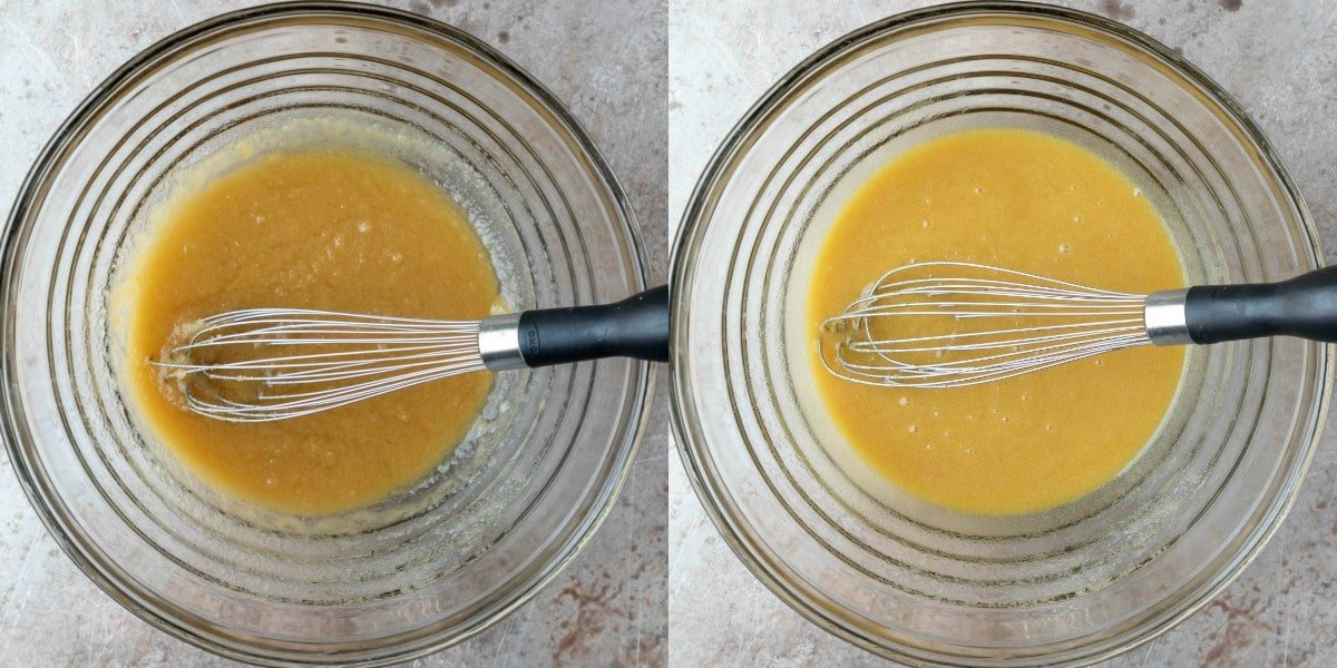 Butter and sugar in a glass mixing bowl