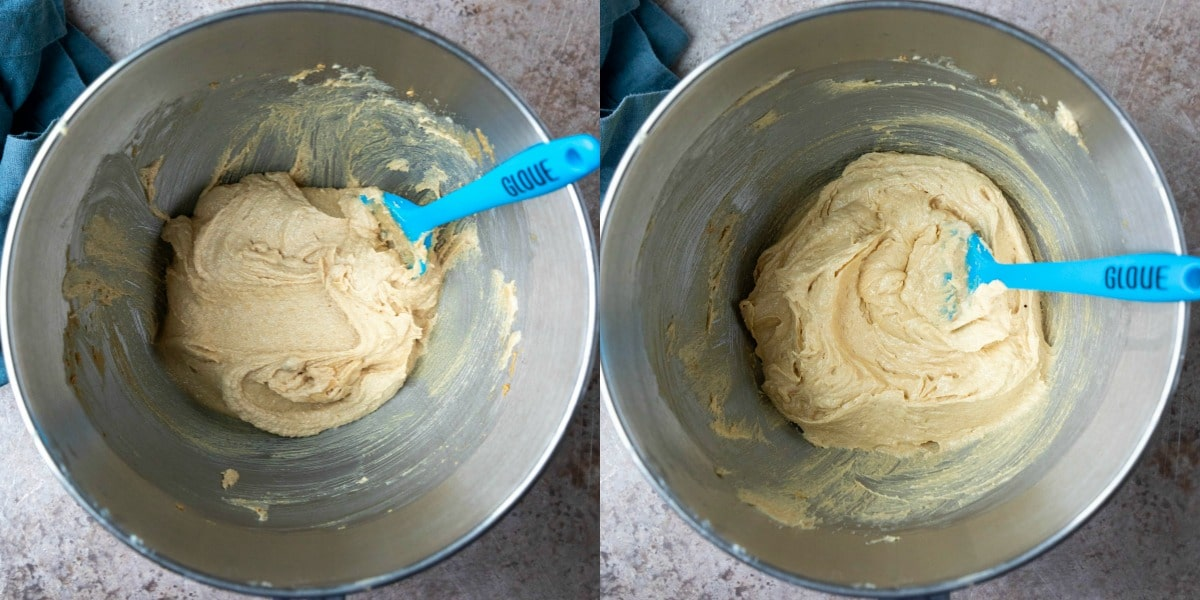 Creamed butter and sugar in a silver mixing bowl.