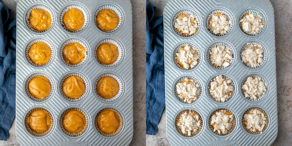 Raw muffin batter in a silver muffin tin