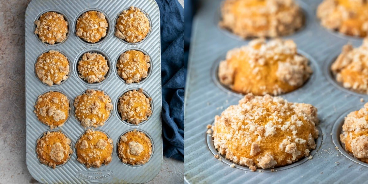 Baked pumpkin streusel muffins in a silver muffin tin.