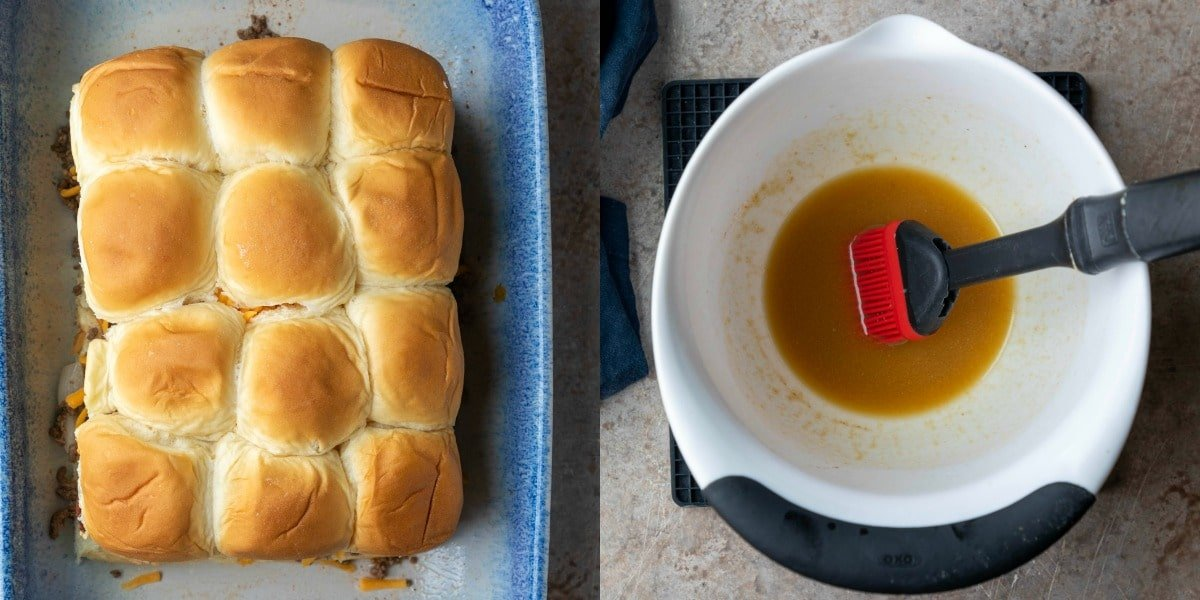 Cheeseburger slider glaze in a white mixing bowl