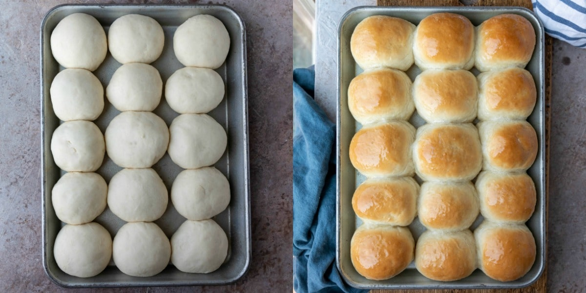 Unbaked and baked rolls in a silver baking tray