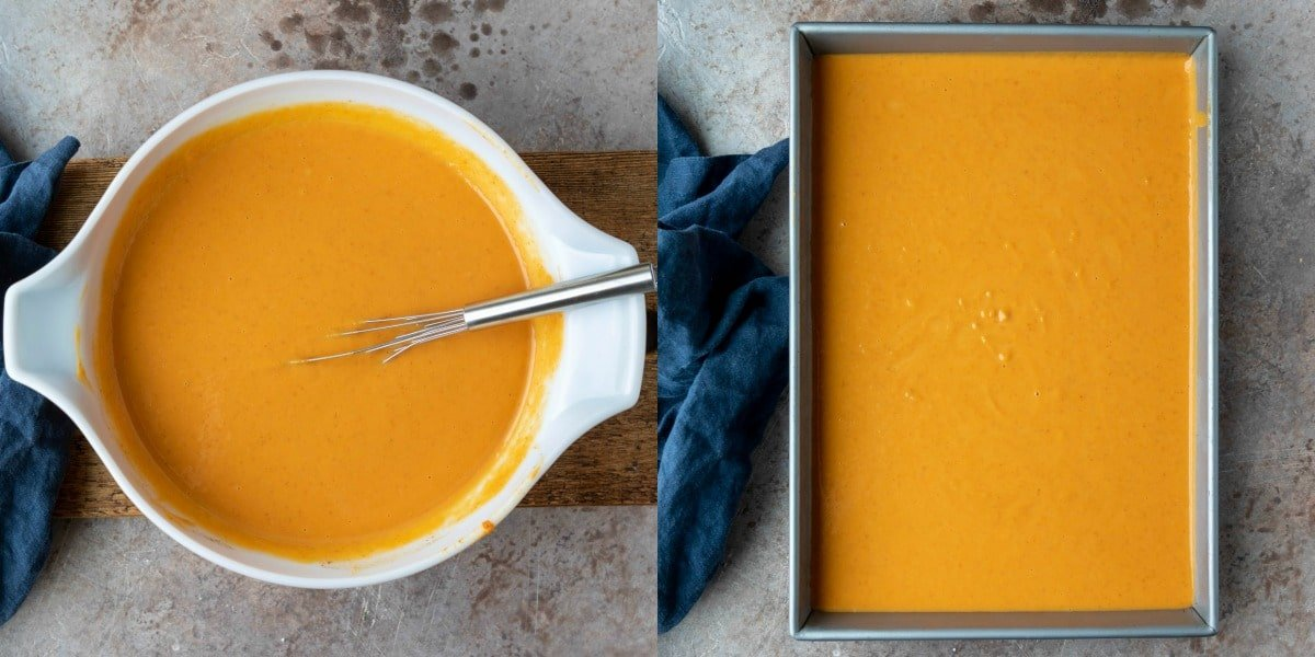 Pumpkin pie cake filling in a white mixing bowl