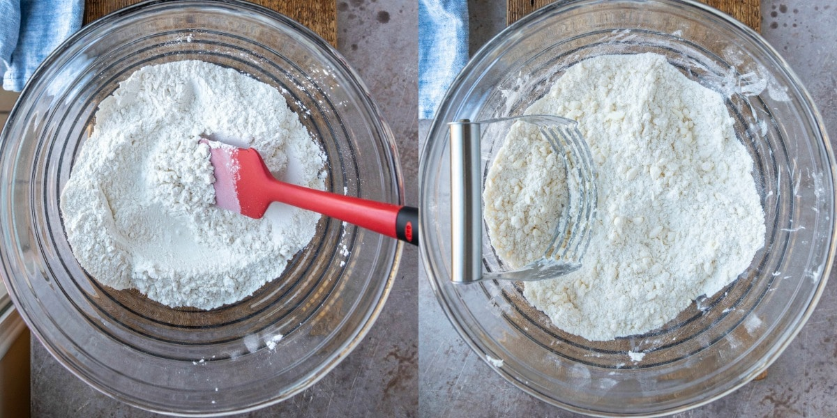 Flour sugar and salt in a mixing bowl