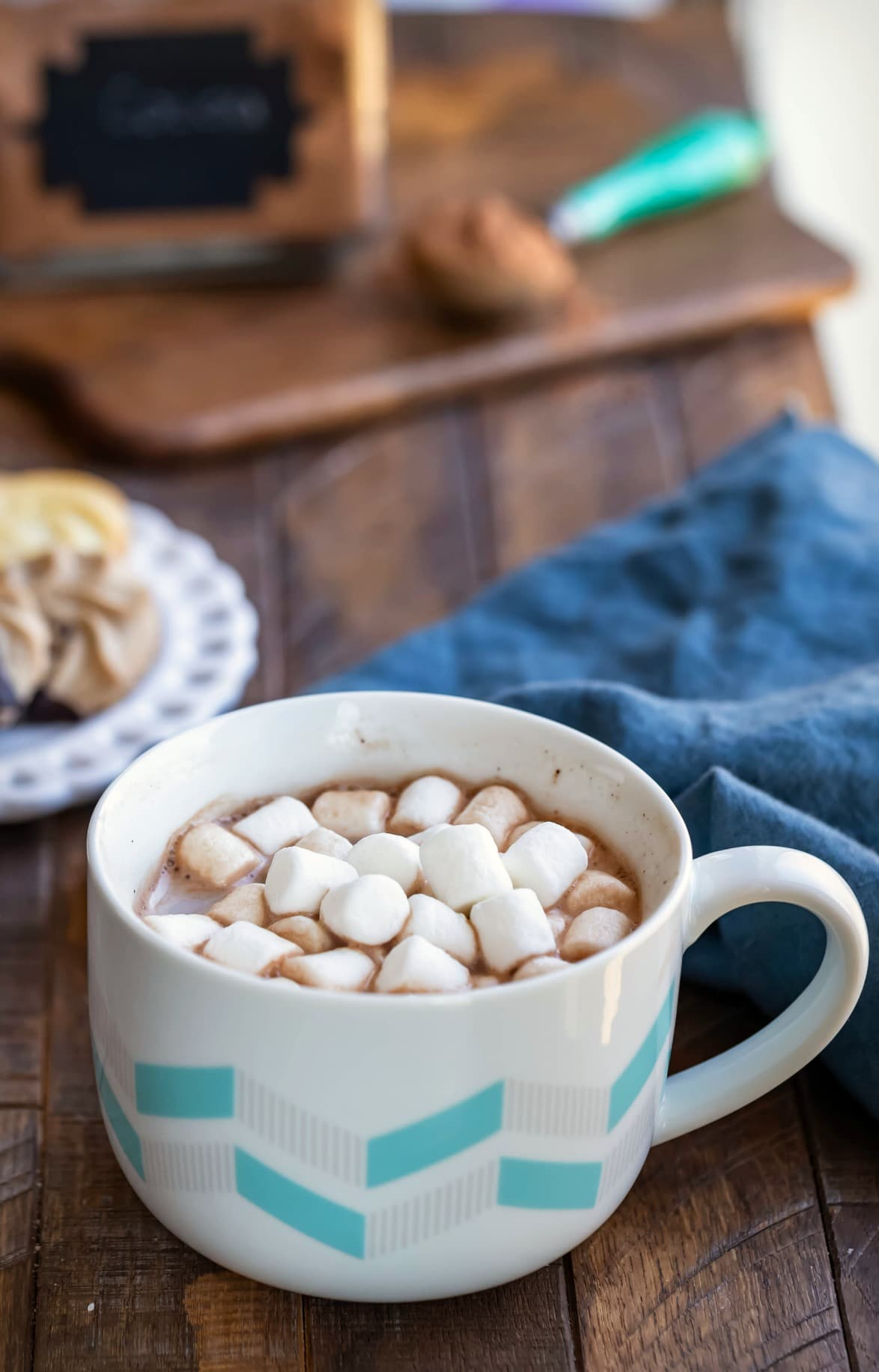 Mug of hot chocolate with marshmallows