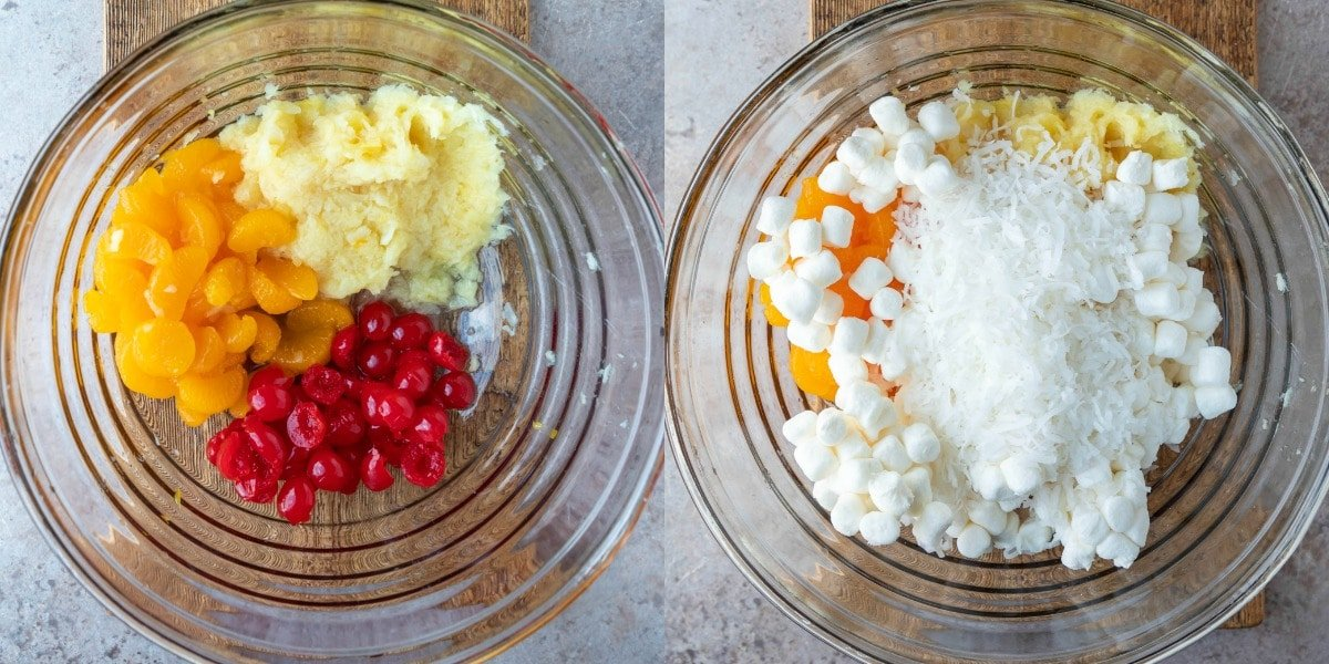 Ambrosia salad ingredients in a glass mixing bowl