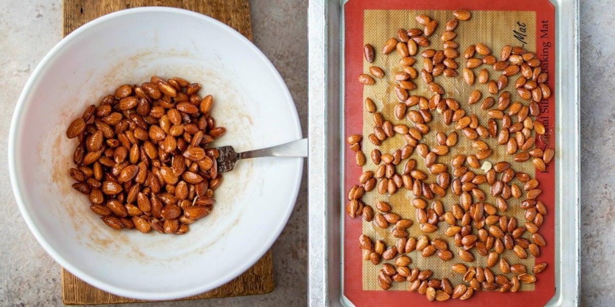 Unbaked cinnamon almonds on a half sheet pan