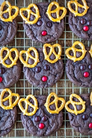Reindeer cookies on a gold wire baking rack