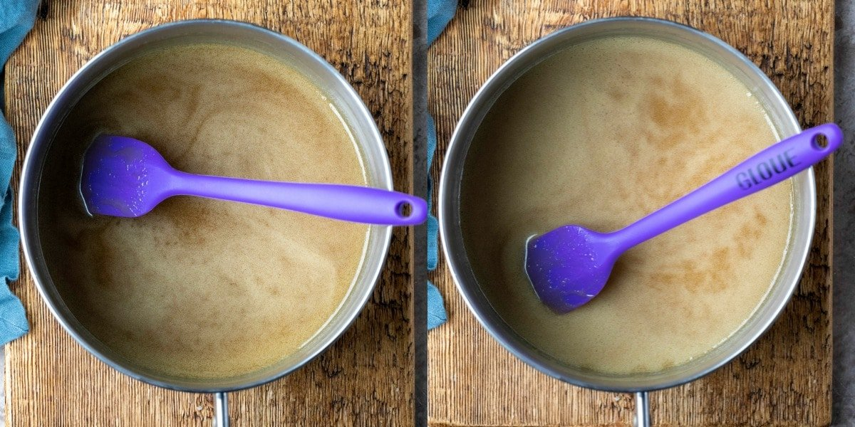 Sticky toffee cake pudding sauce in a metal saucepan