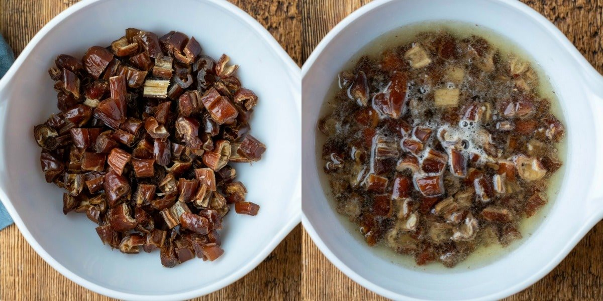 Dates soaking in a bowl of boiling water
