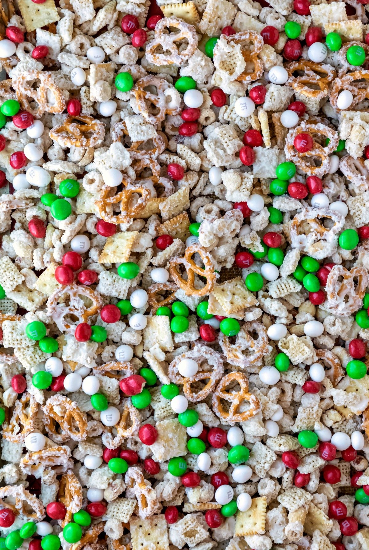 Tray full of white chocolate party mix