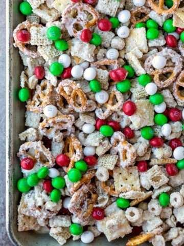 White chocolate party mix with cereal pretzels and M&MS