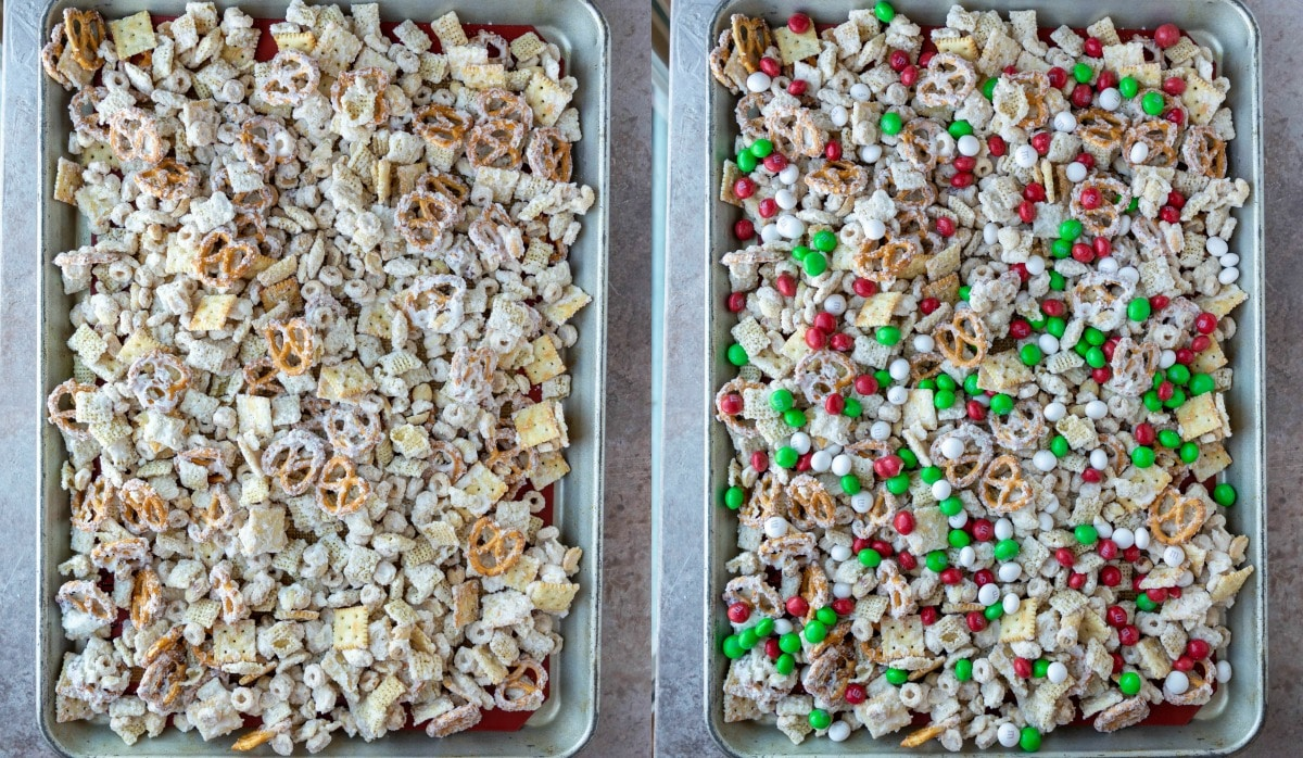 Tray of white chocolate party mix