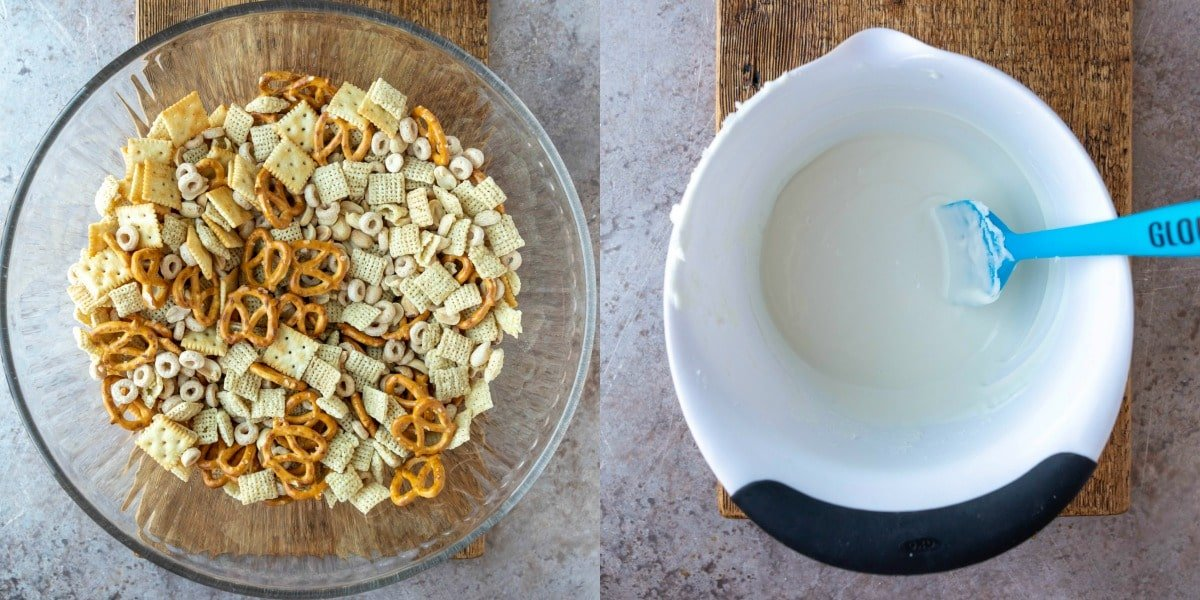Cereal mix in a glass mixing bowl