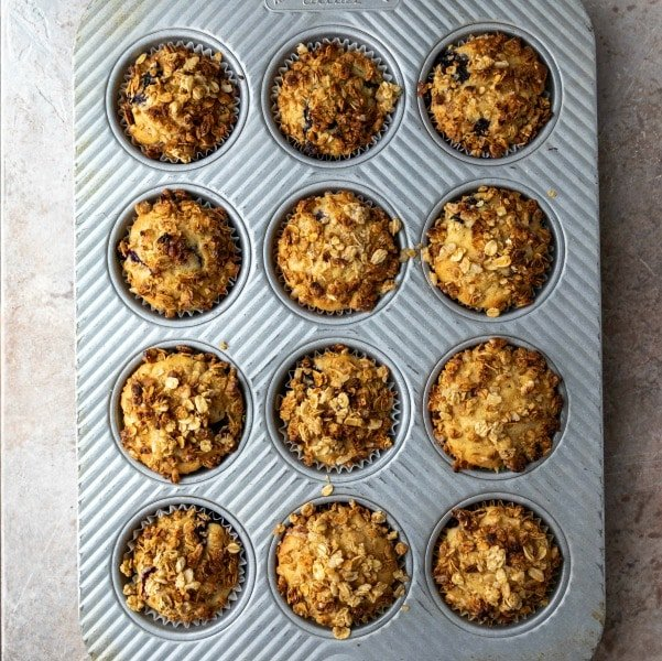 Baked granola muffins in a muffin tin