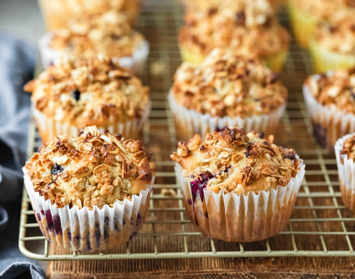 Rows of granola muffins on a wire cooling rack