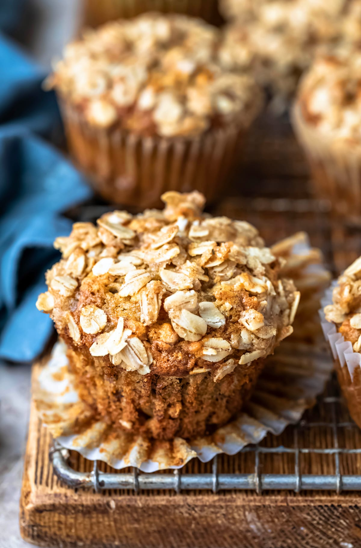 Banana Oatmeal Muffins on a wire cooling rack