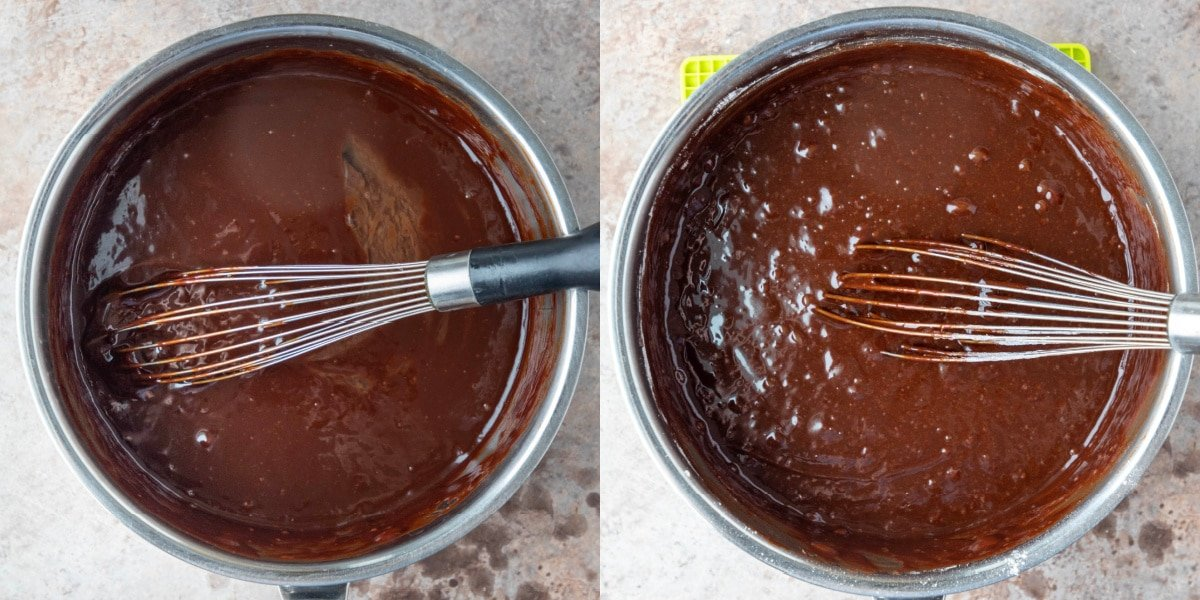 Brownie batter in a saucepan