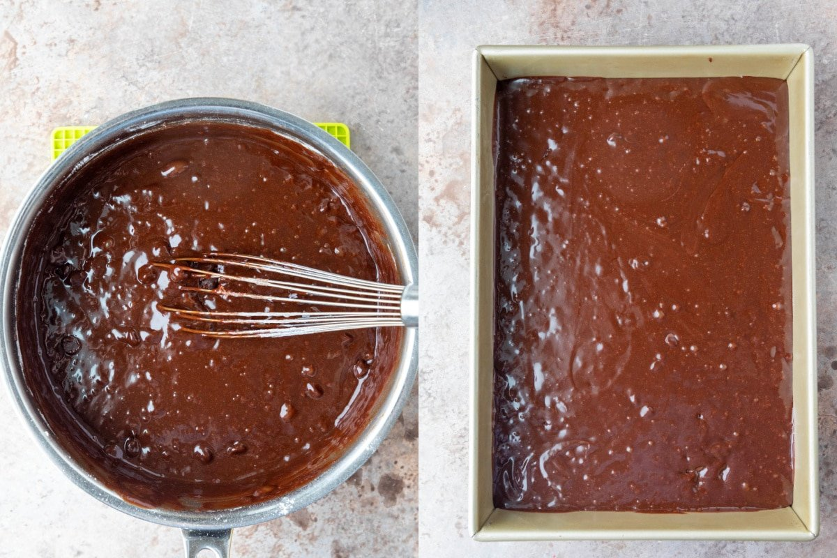 Brownie batter in a 9x13 pan