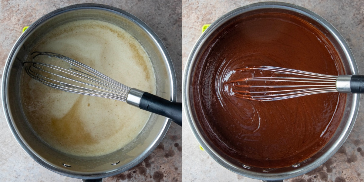 Melted butter and sugar in a saucepan