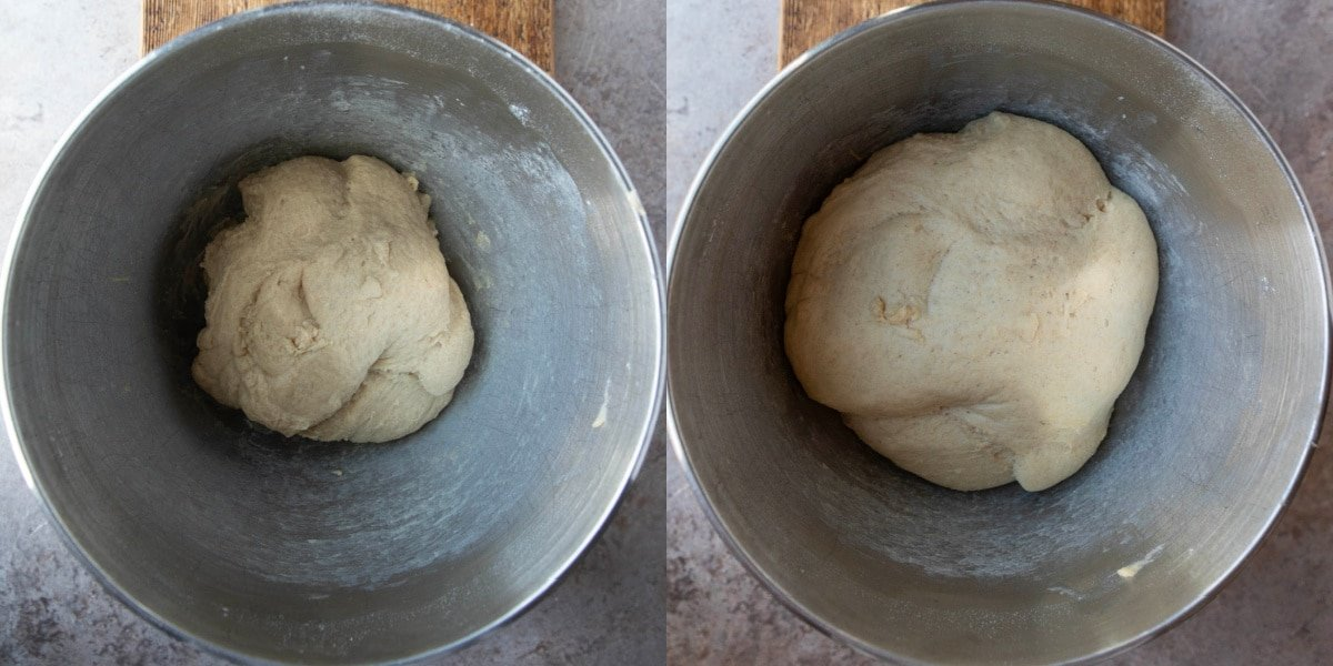Whole wheat dinner roll dough in a silver mixing bowl