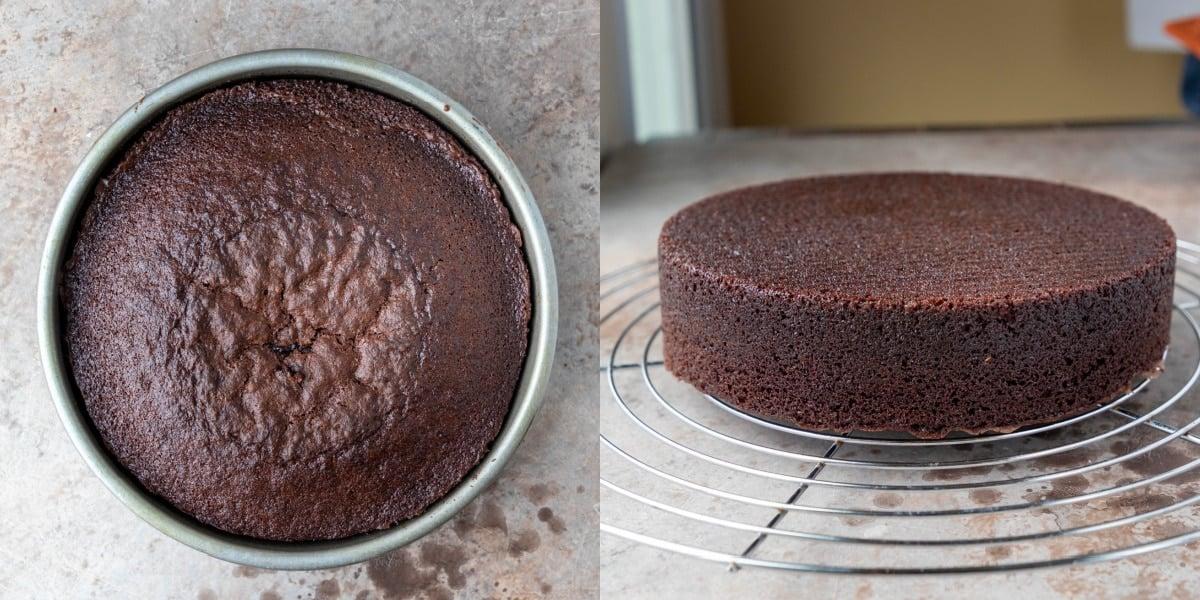Brownie cake in a metal baking pan