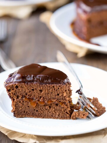 Sacher Torte slice on a white plate with a fork