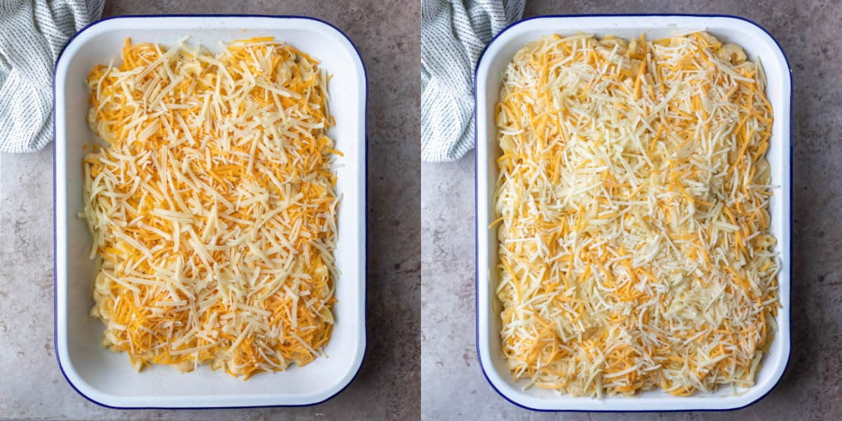 Unbaked baked mac and cheese in a pan