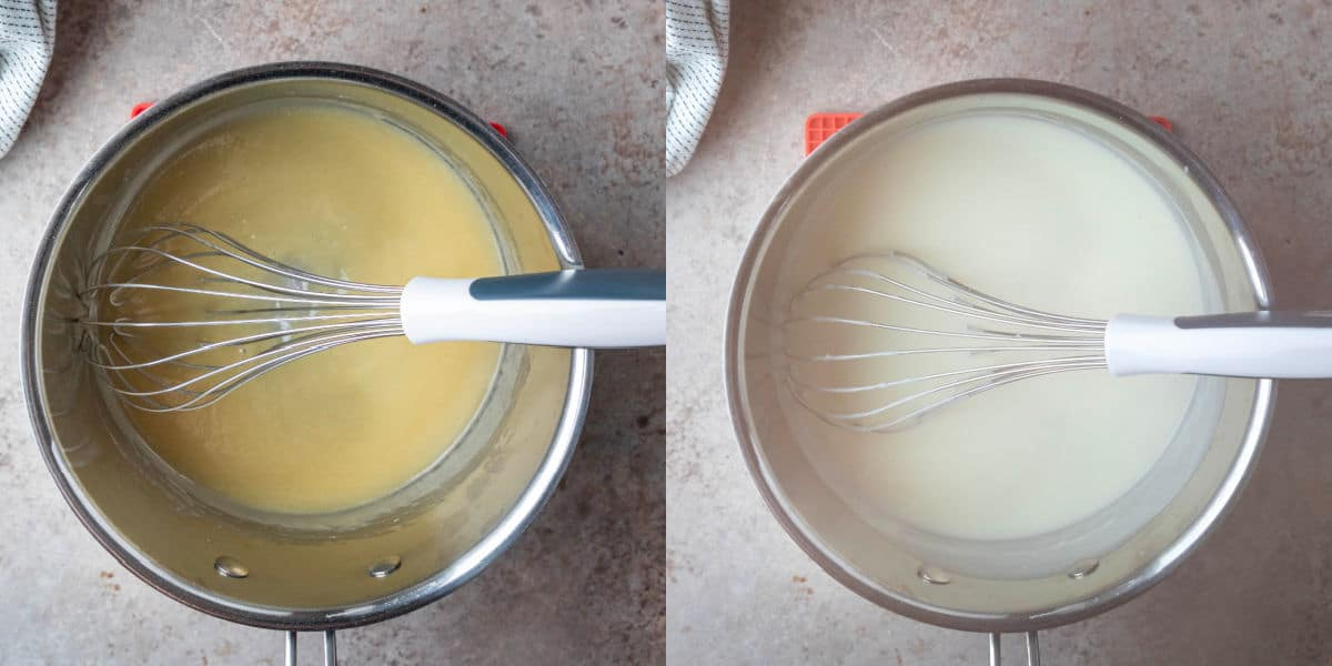 roux in a silver saucepan