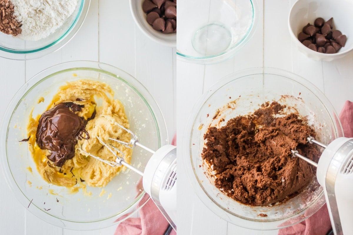 hand mixer mixing chocolate cookie dough