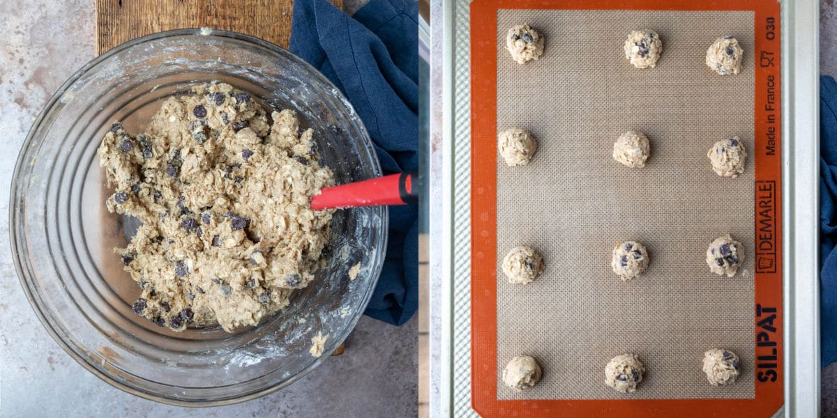 scoops of lactation cookie dough on a baking sheet