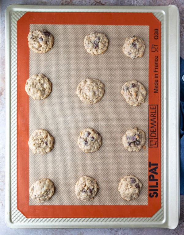 baked lactation cookies on a baking sheet