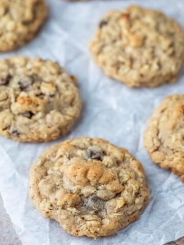 Lactation cookies on a piece of parchment paper