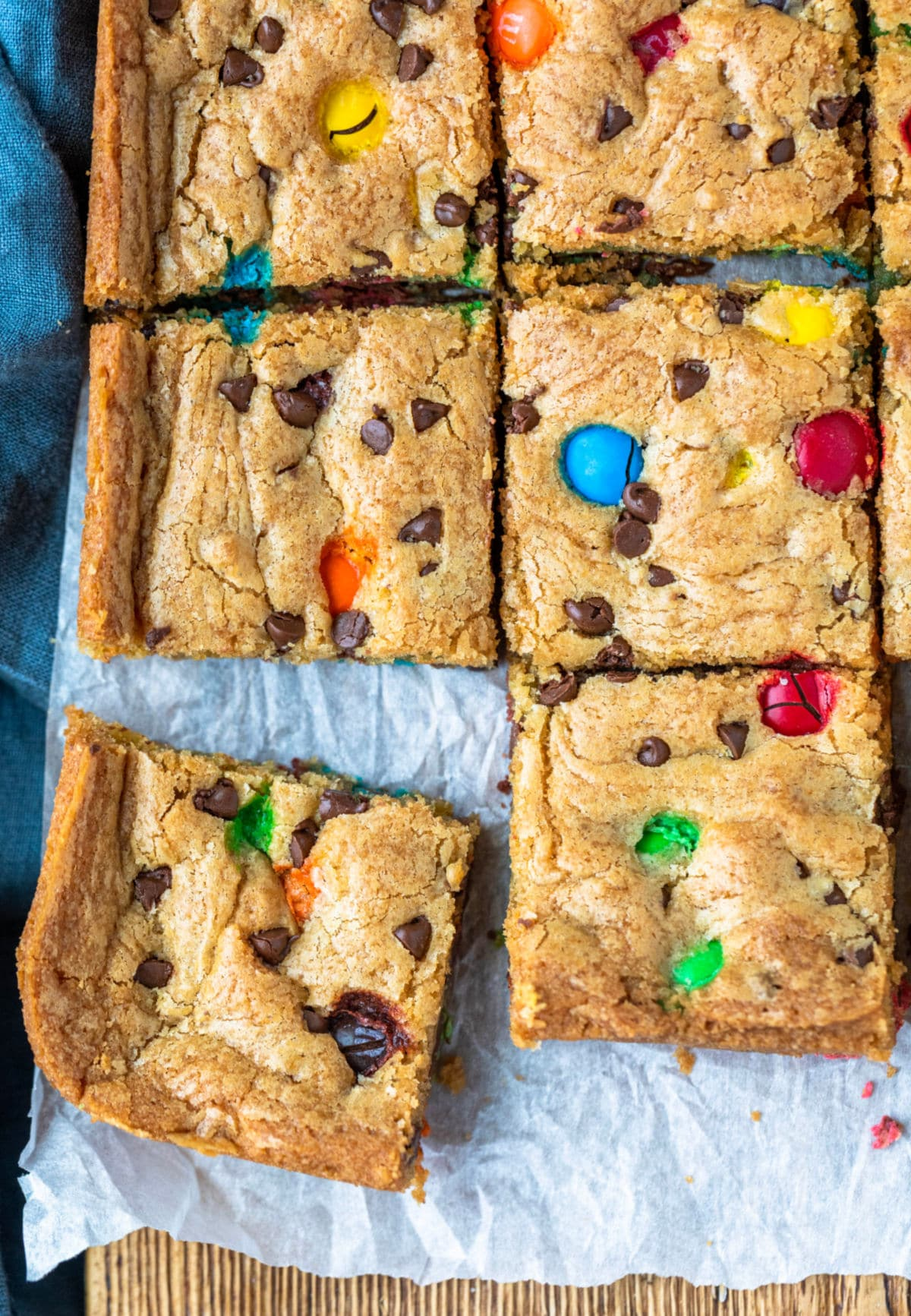 M&M cookie bars cut into pieces