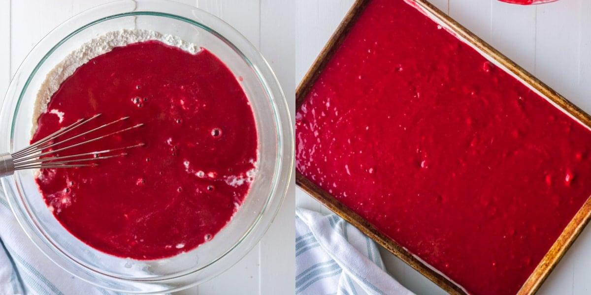 Red velvet cake batter in a sheet pan